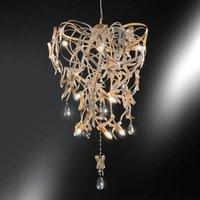 Greta pendant light with gold patina, nine-bulb