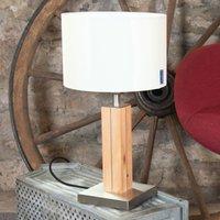HerzBlut Dana table lamp  pine  white 41 cm