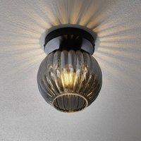 Zucca ceiling light  glass lampshade  smoke