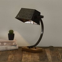 Scava table lamp with a wooden base  rusty brown