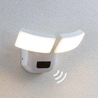 LED-Außenwandlampe Nikias mit Sensor, 2-fl.