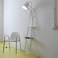 Floor lamp Alfred with storage space  matt white