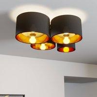 Lindby Laurenz Deckenlampe, 4-fl., schwarz-gold