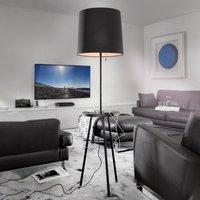 Tabulo floor lamp  shelf and USB port  black