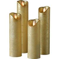 Shine LED candle  set of 4    5 cm  gold