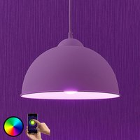 Lindby Smart LED-Pendelleuchte Bowl 31cm weiß