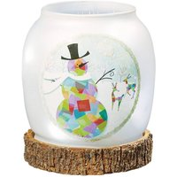 Snowman LED glass vase  battery powered
