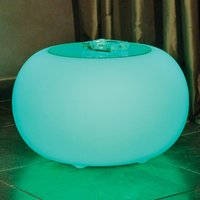 Bubble LED BATTERY Outdoor table with glass panel