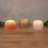 Rock Trio tea light holder set  salt crystal