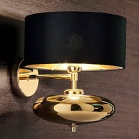 Black and gold fabric wall light Show Ellisse