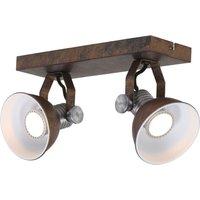 Brooklyn LED ceiling spotlight 2 bulb brown