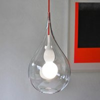 next Blubb 2 hanging light  clear glass  red cable