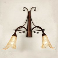 Wall light Riccardo with floral glass lampshades