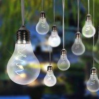 33708-10 LED solar string lights, metallic silver