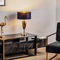Show Ogiva   black gold fabric table lamp