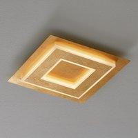 Quadratische, goldfarbene LED-Deckenlampe Granada