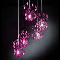 Asymmetrical hanging light Magenta 3 bulb