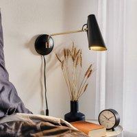 Retro wall light Birdy in black brass