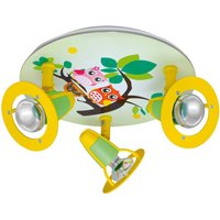 Owl ceiling light for a child s room  green yellow