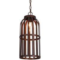Ralph hanging light  cage design  brown    20 cm