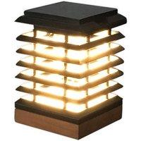 Tekura LED solar table lamp made of teak wood