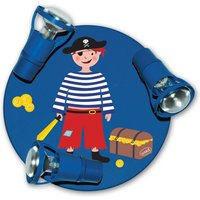 Dark blue Pirate ceiling light with 3 bulbs