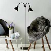 Two bulb floor lamp Ray made of black metal