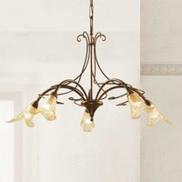 5 bulb Riccardo hanging light with floral elements