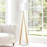 Zazou LS floor lamp  fabric lampshade  white base