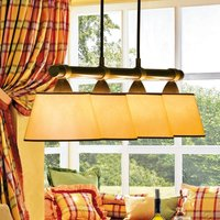 LIVING TABLE hanging light w  four red lampshades