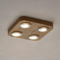 4 bulb Sunniva LED ceiling lamp  oak wood