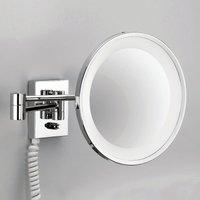 POINT   illuminated cosmetic wall mirror  chrome