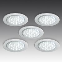 Five R 68 LED recessed lights stainless steel look