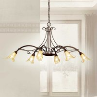 6 bulb Riccardo hanging light with floral elements