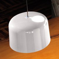 Glossy white ceramic hanging light Add