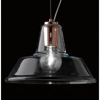 Glass pendant light Lampara with element in copper