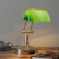 Banker s lamp Steve with green lampshade