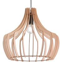Wooden hanging light Wood with a slatted design