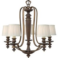 Dunhill 5 chandelier with pleated lampshades