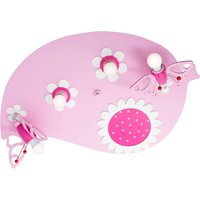 Leaf Butterfly ceiling light in pink  four bulb