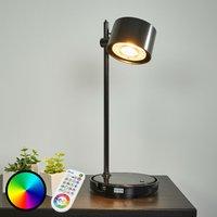 Jasmine black LED iDual table lamp with remote