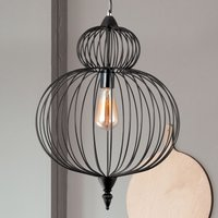 Zola hanging light  cage lampshade  black