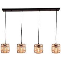 Crosstown hanging  closed bamboo lampshade  4 bulb