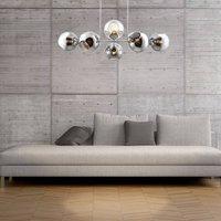 Pilar glass pendant light  8 bulb  smoky grey