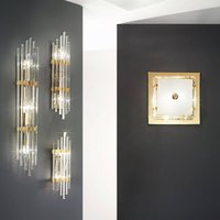 Ontario wall light  height 31 cm  gold  square