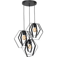 Tangle hanging lamp in black  three bulb  round