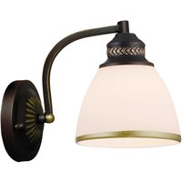 Clair   brown metal wall light  glass lampshade