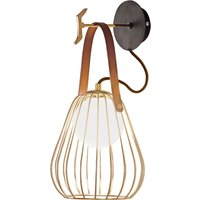 Levik wall light with a golden cage