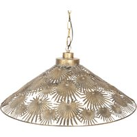 281 hanging light with interesting iron lampshade