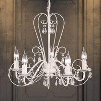Prisma Chandelier Five Bulbs White